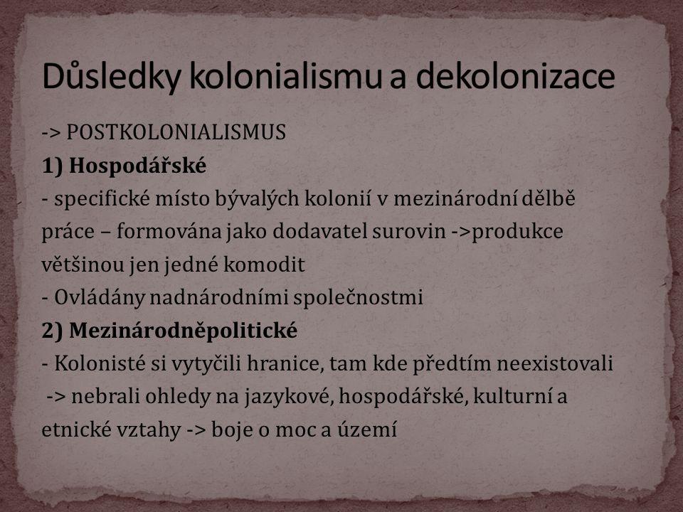 Důsledky kolonialismu a dekolonizace
