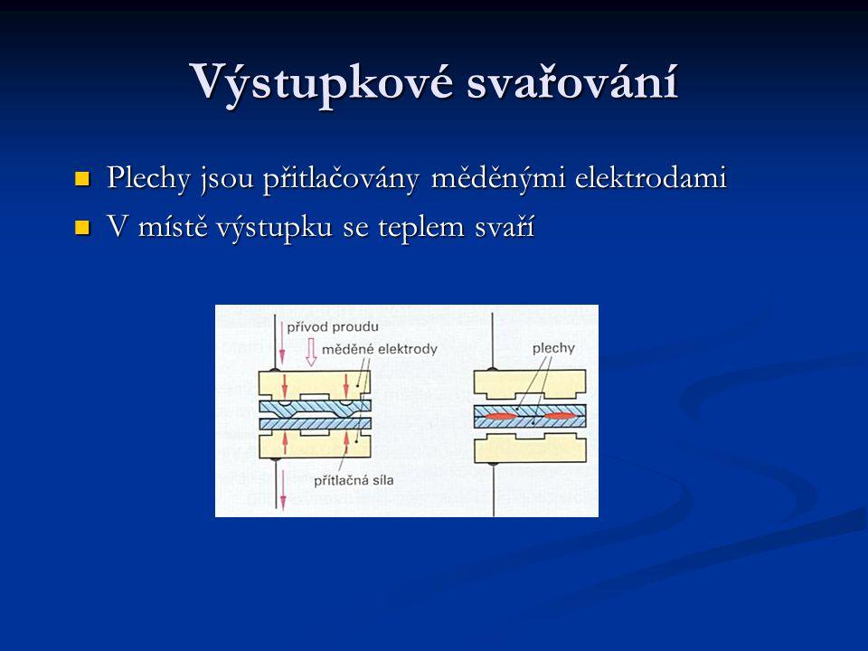 Výstupkové svařování Plechy jsou přitlačovány měděnými elektrodami