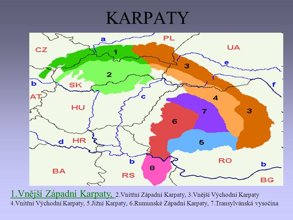 KARPATY 1.Vnější Západní Karpaty, 2.Vnitřní Západní Karpaty, 3.Vnější Východní Karpaty.