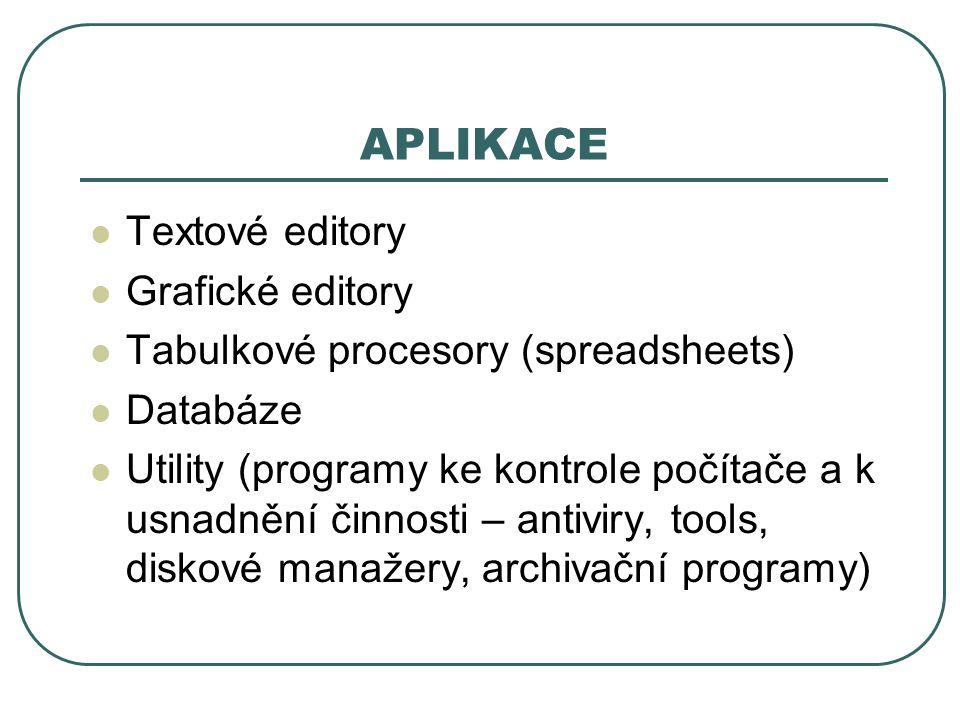 APLIKACE Textové editory Grafické editory