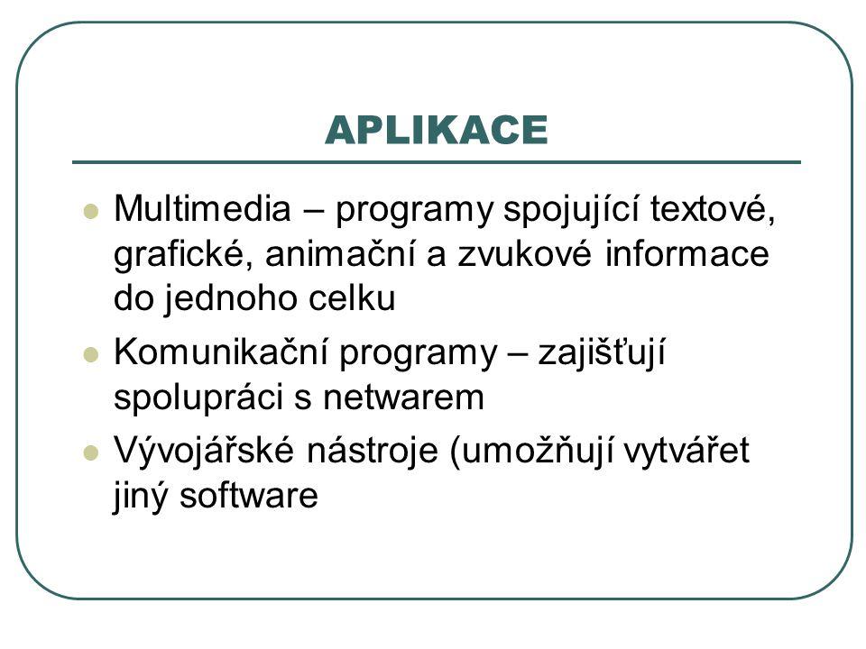 APLIKACE Multimedia – programy spojující textové, grafické, animační a zvukové informace do jednoho celku.