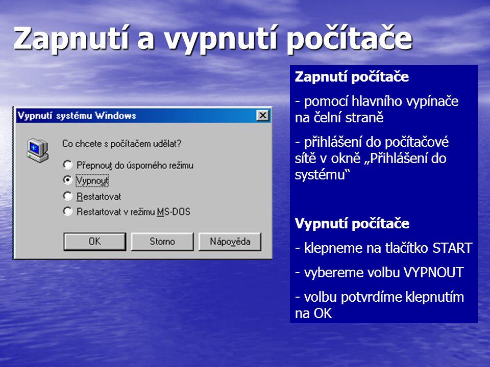 Zapnutí a vypnutí počítače