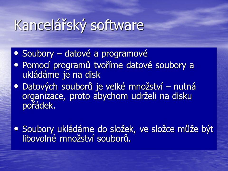 Kancelářský software Soubory – datové a programové
