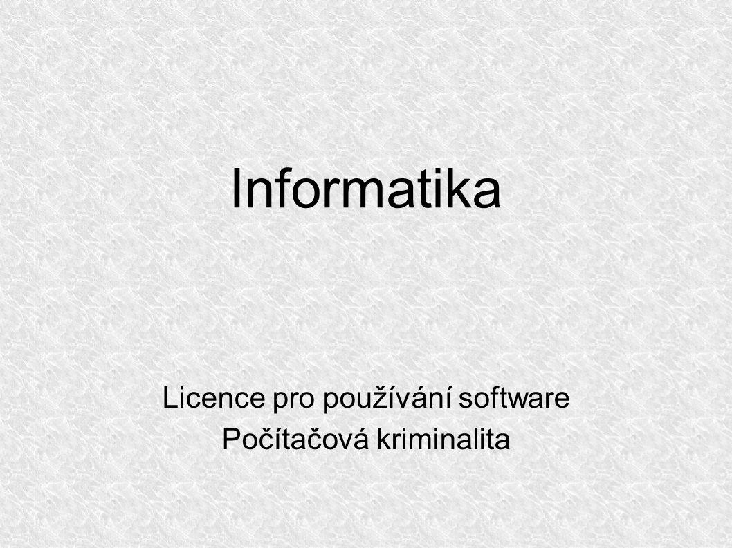 Informatika Licence pro používání software Počítačová kriminalita
