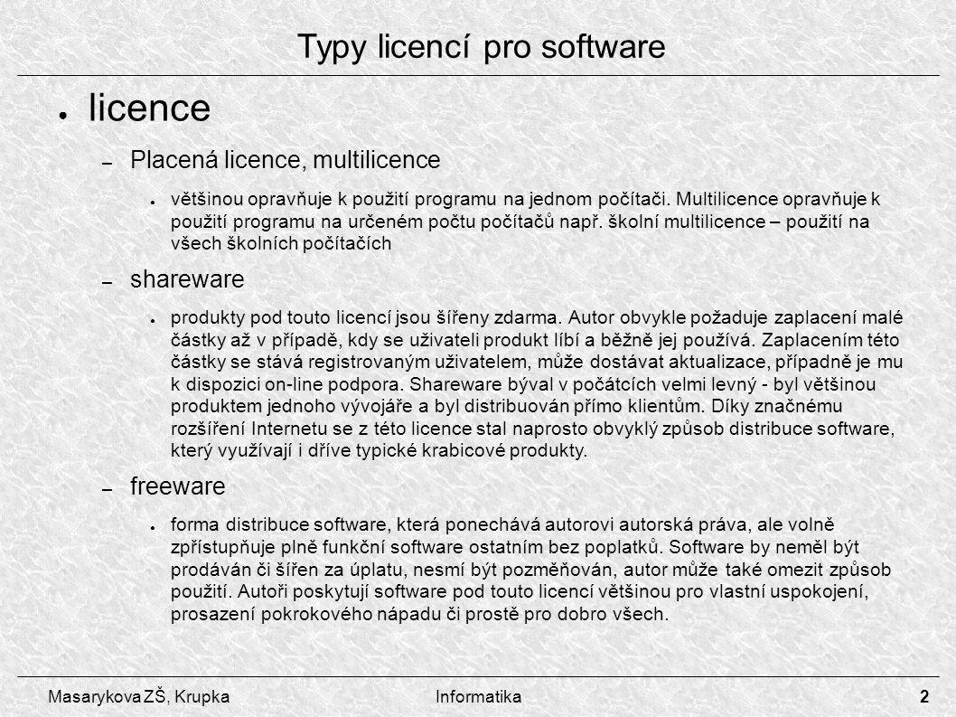Typy licencí pro software