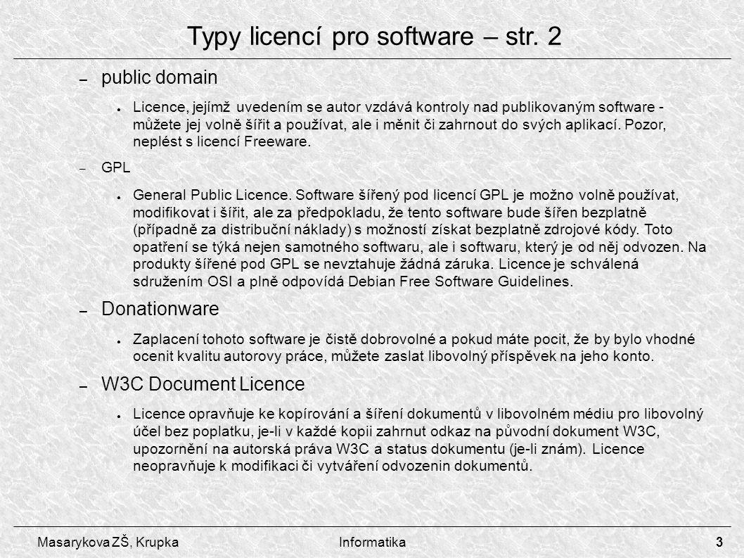 Typy licencí pro software – str. 2