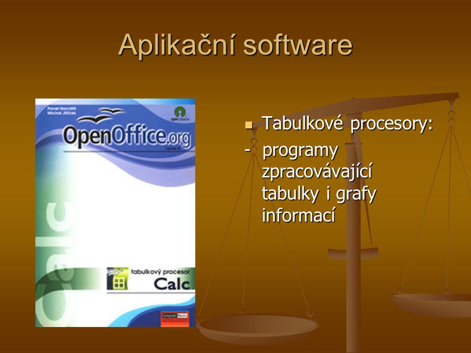 Aplikační software Tabulkové procesory: