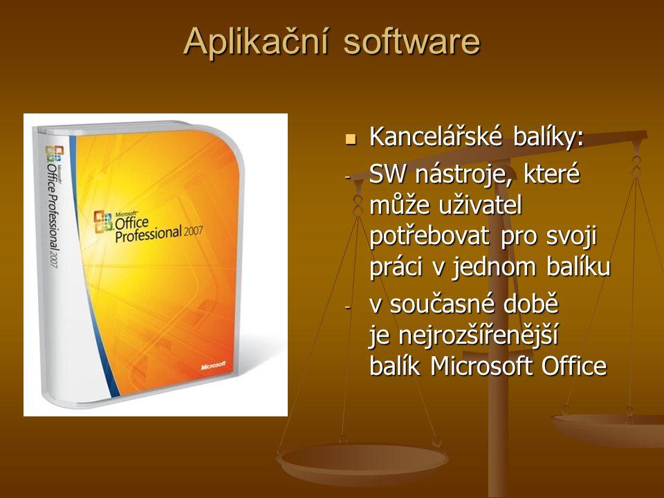 Aplikační software Kancelářské balíky: