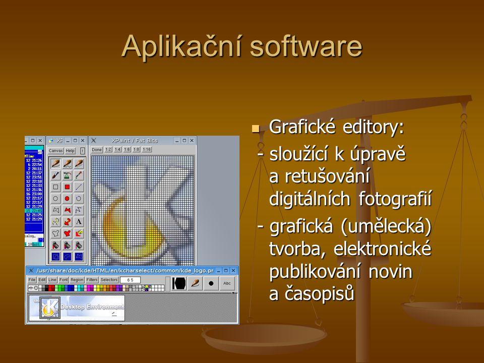 Aplikační software Grafické editory: