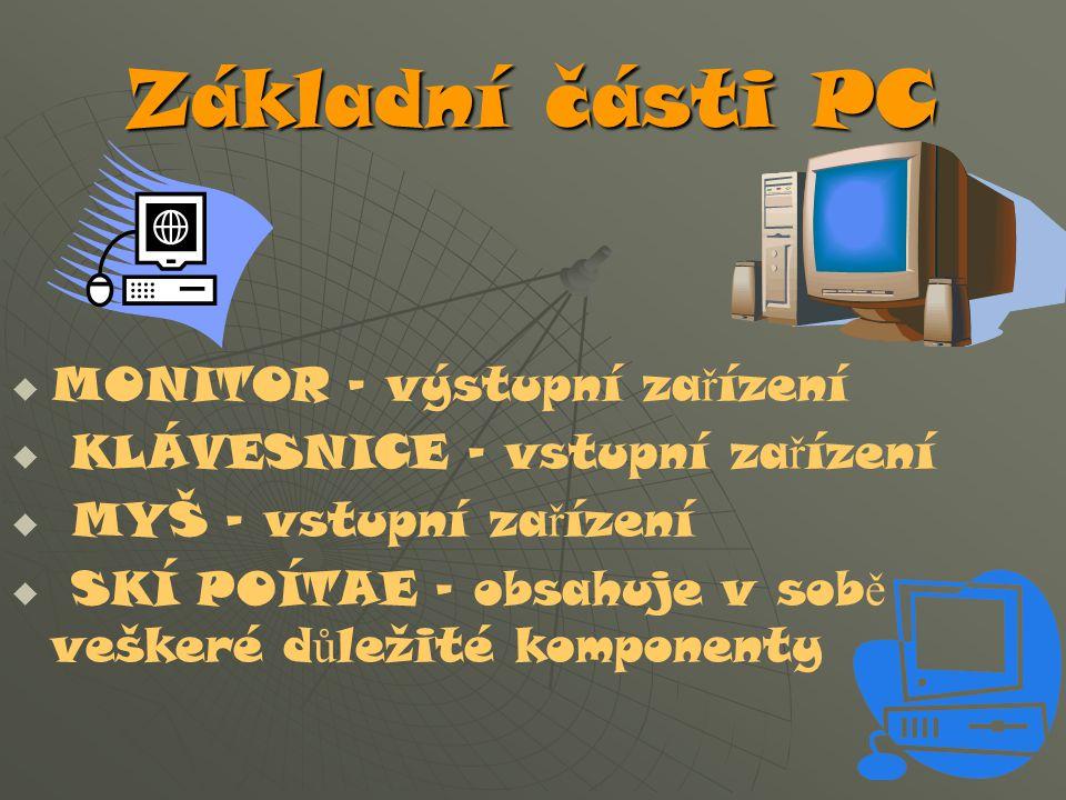 Základní části PC MONITOR – výstupní zařízení