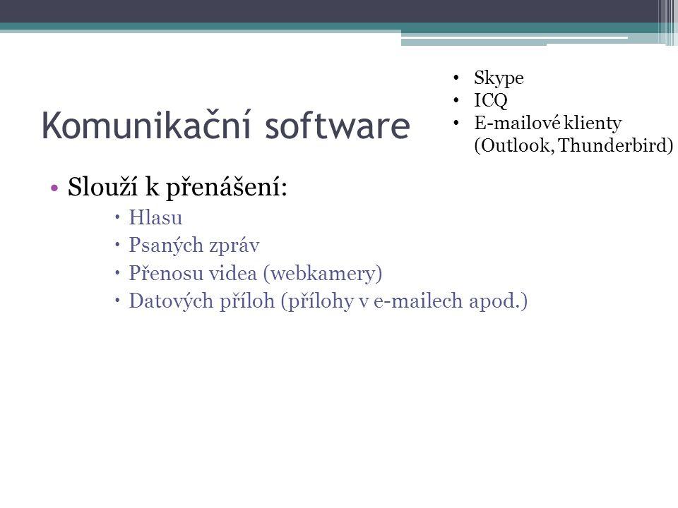 Komunikační software Slouží k přenášení: Hlasu Psaných zpráv