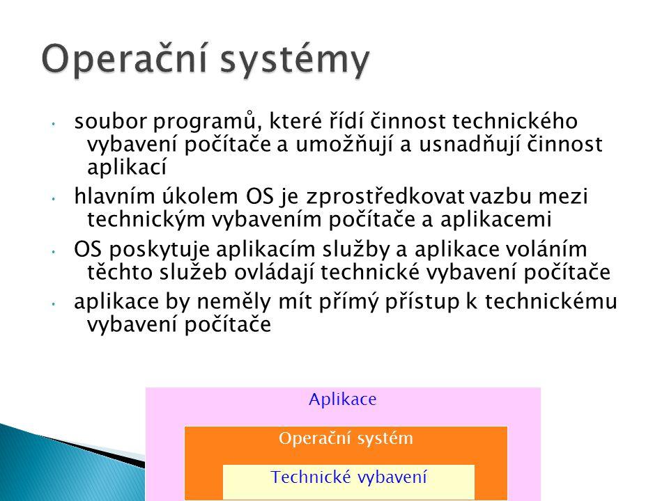 Operační systémy soubor programů, které řídí činnost technického vybavení počítače a umožňují a usnadňují činnost aplikací.