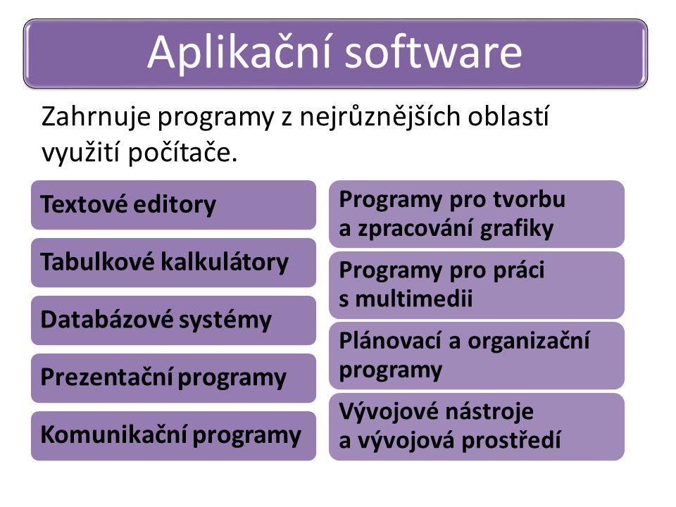 Aplikační software Zahrnuje programy z nejrůznějších oblastí využití počítače. Textové editory. Tabulkové kalkulátory.
