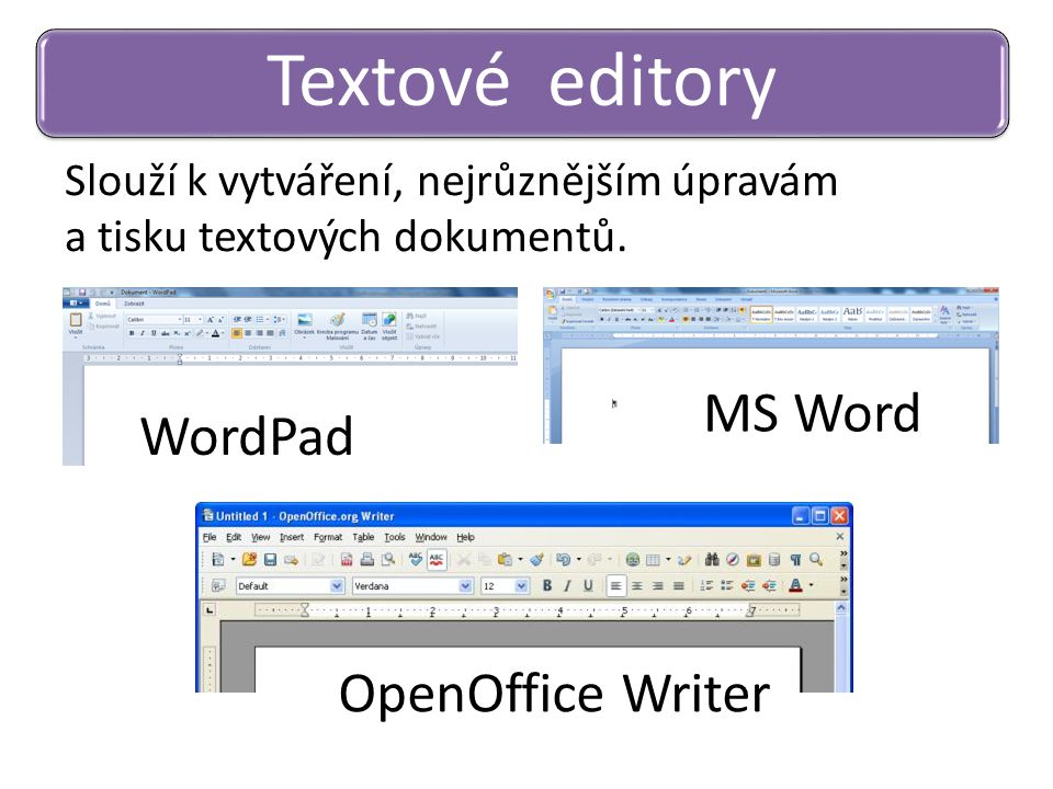 Textové editory MS Word WordPad OpenOffice Writer