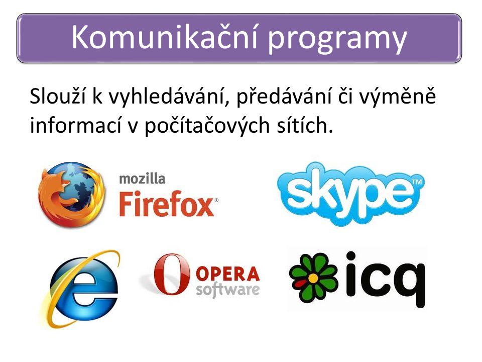 Komunikační programy Slouží k vyhledávání, předávání či výměně informací v počítačových sítích.
