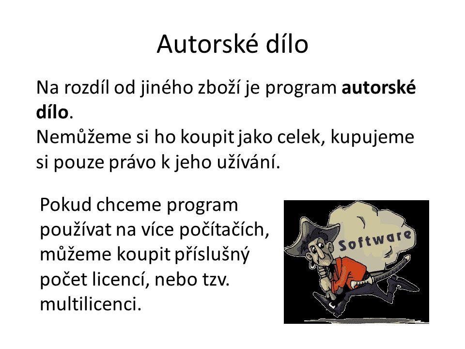 Autorské dílo Na rozdíl od jiného zboží je program autorské dílo.