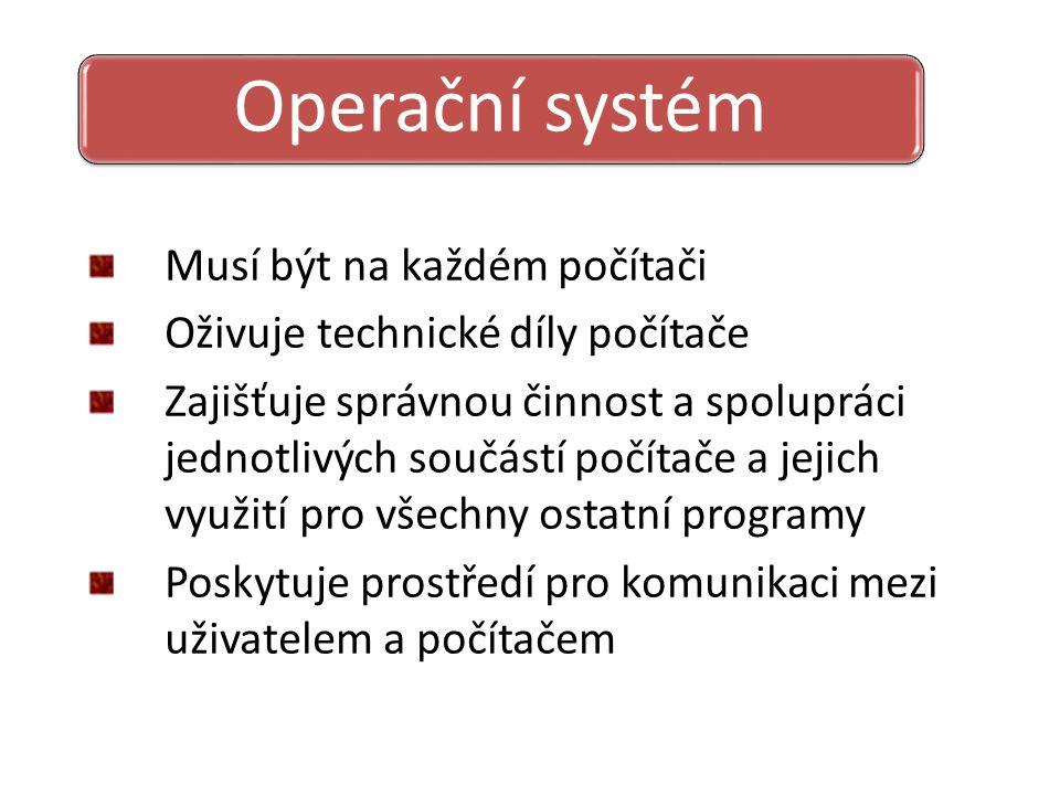 Operační systém Musí být na každém počítači