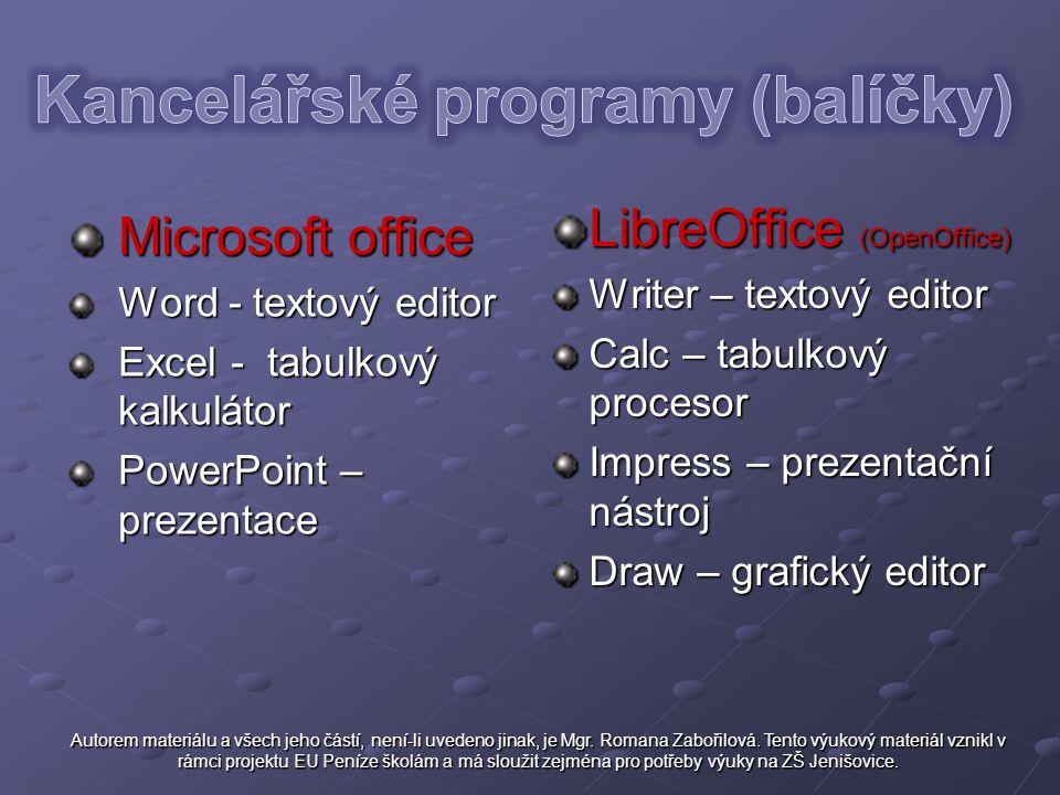 Kancelářské programy (balíčky)