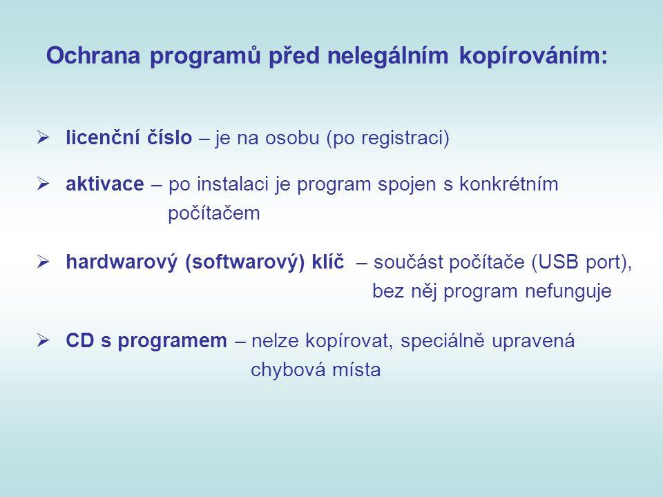 Ochrana programů před nelegálním kopírováním: