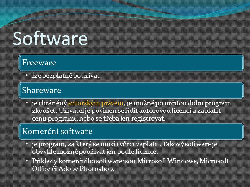 Software Freeware Shareware Komerční software lze bezplatně používat
