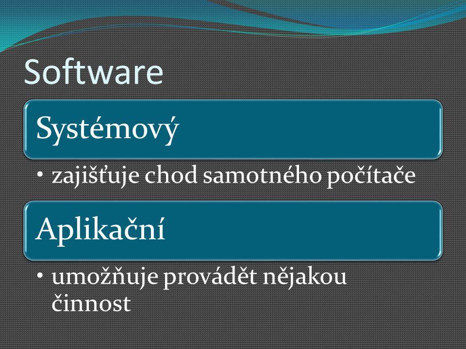 Software Systémový Aplikační zajišťuje chod samotného počítače