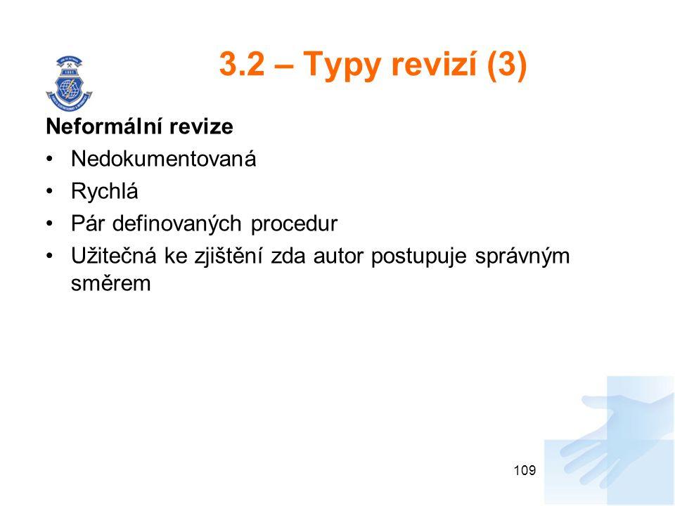 3.2 – Typy revizí (3) Neformální revize Nedokumentovaná Rychlá