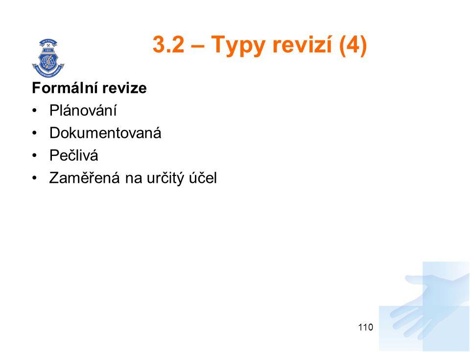 3.2 – Typy revizí (4) Formální revize Plánování Dokumentovaná Pečlivá