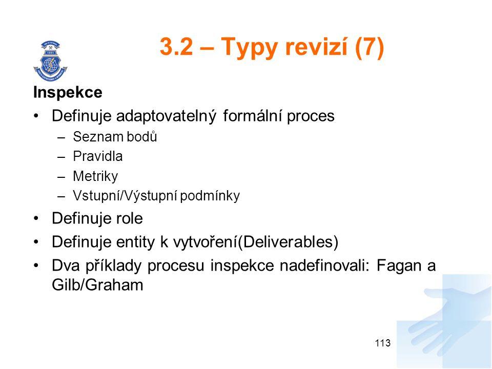 3.2 – Typy revizí (7) Inspekce Definuje adaptovatelný formální proces