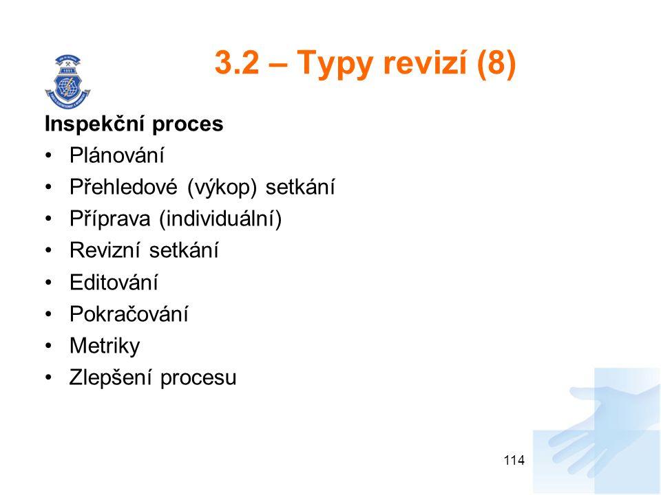 3.2 – Typy revizí (8) Inspekční proces Plánování
