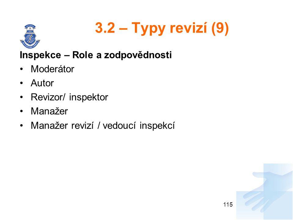 3.2 – Typy revizí (9) Inspekce – Role a zodpovědnosti Moderátor Autor