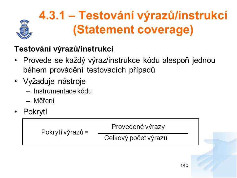 4.3.1 – Testování výrazů/instrukcí (Statement coverage)