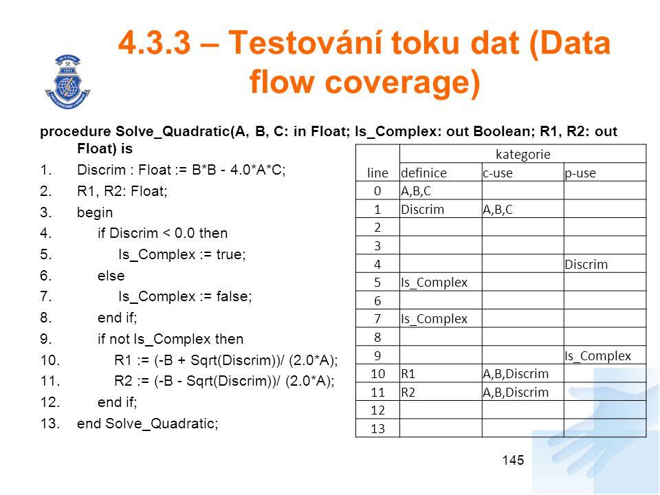 4.3.3 – Testování toku dat (Data flow coverage)