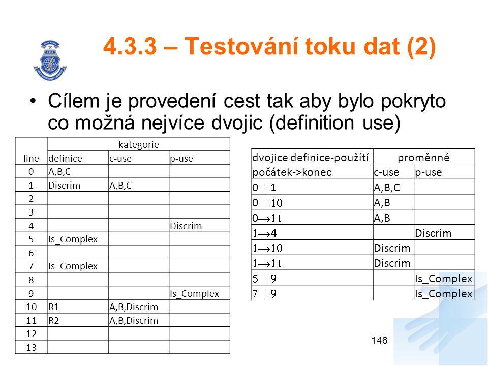 4.3.3 – Testování toku dat (2) Cílem je provedení cest tak aby bylo pokryto co možná nejvíce dvojic (definition use)