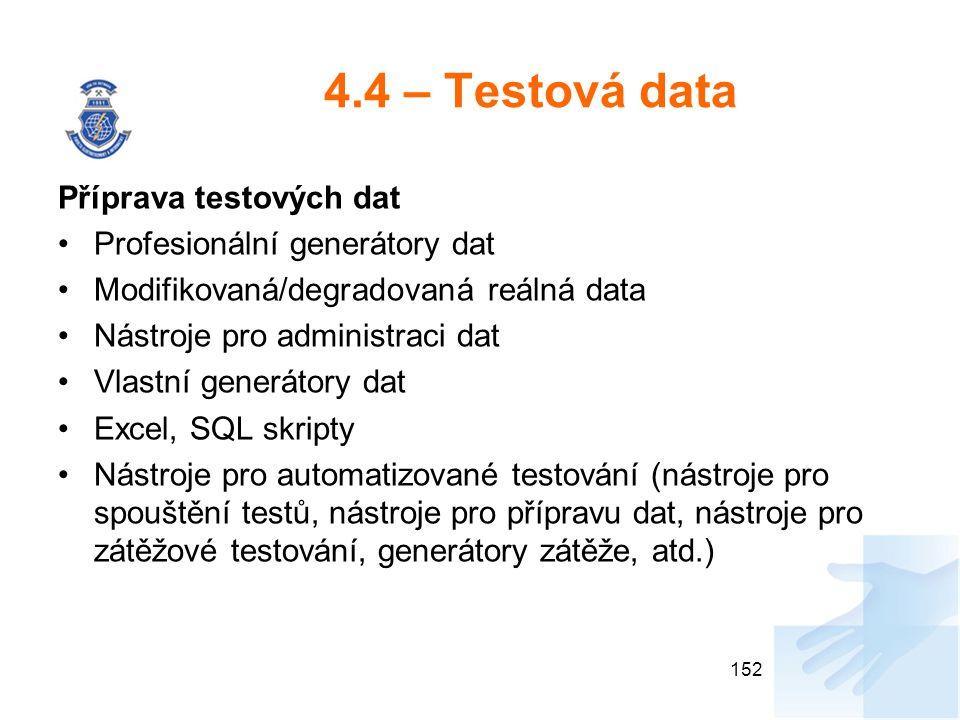 4.4 – Testová data Příprava testových dat Profesionální generátory dat