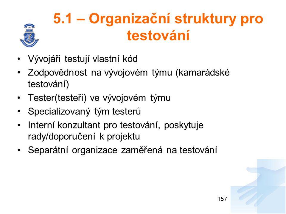 5.1 – Organizační struktury pro testování
