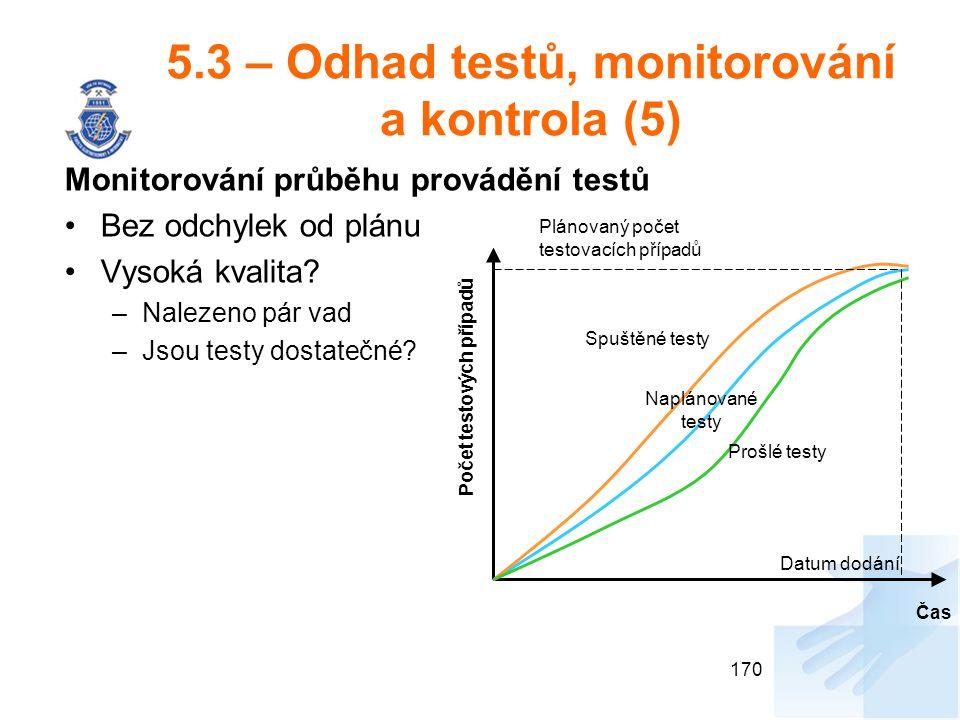 5.3 – Odhad testů, monitorování a kontrola (5)