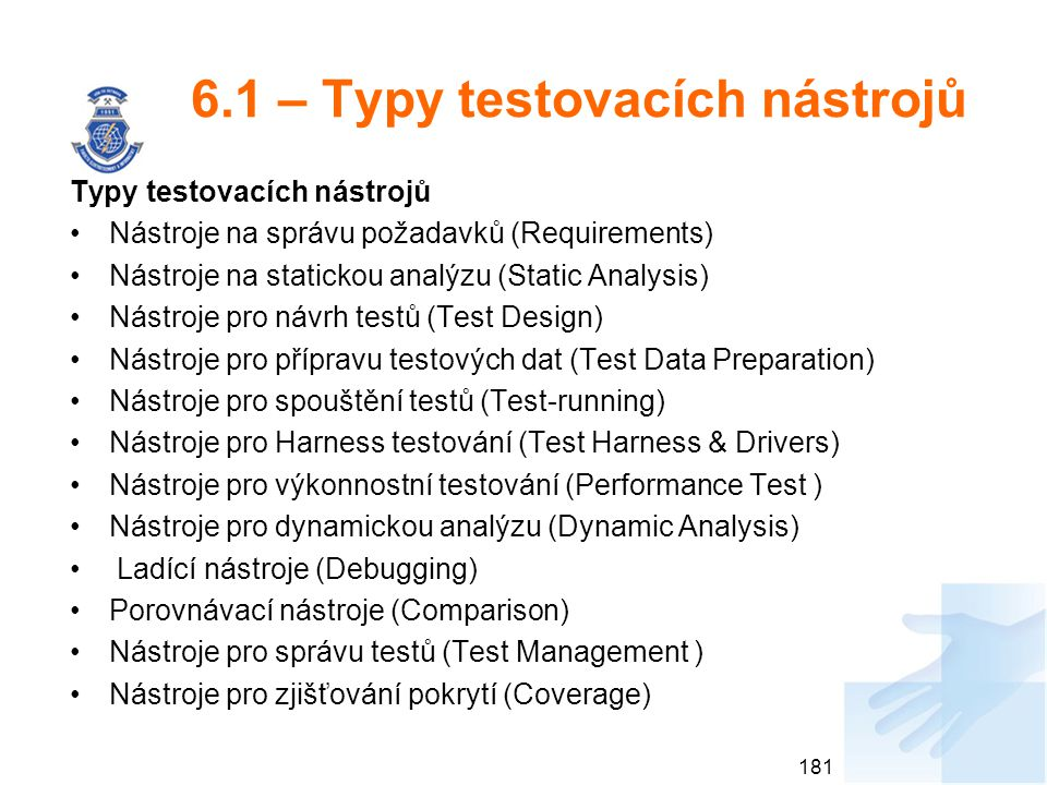6.1 – Typy testovacích nástrojů