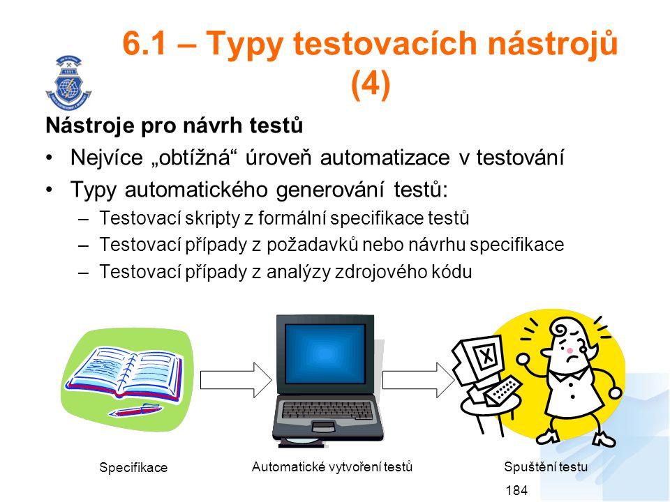 6.1 – Typy testovacích nástrojů (4)