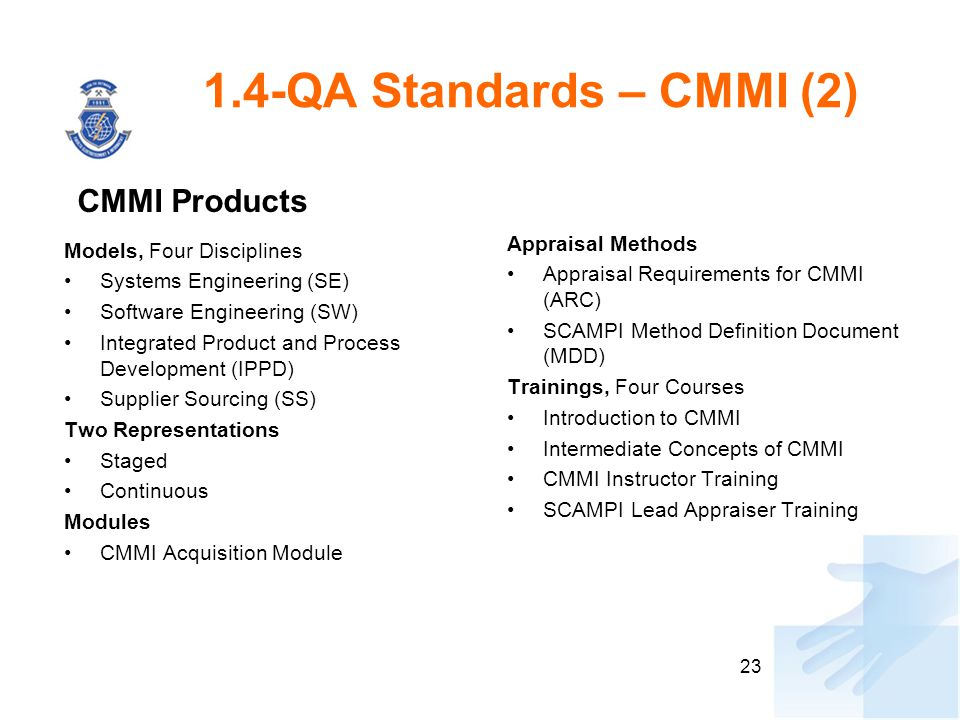 1.4-QA Standards – CMMI (2) CMMI Products Appraisal Methods