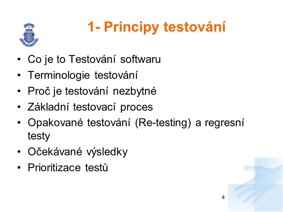 1- Principy testování Co je to Testování softwaru