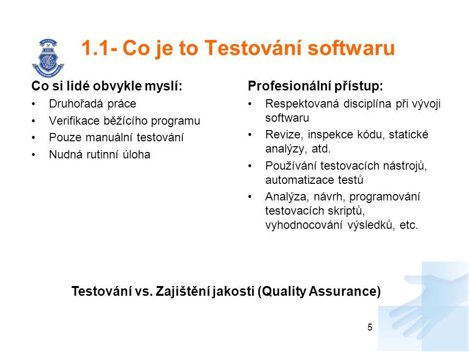 1.1- Co je to Testování softwaru