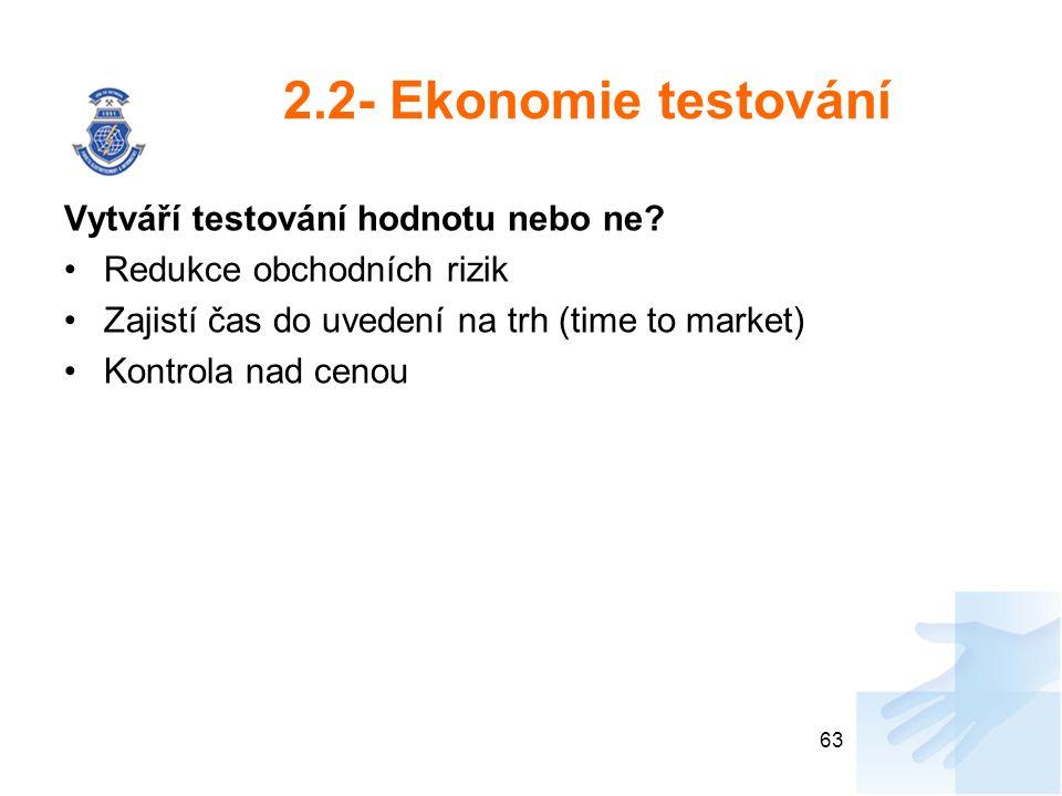 2.2- Ekonomie testování Vytváří testování hodnotu nebo ne
