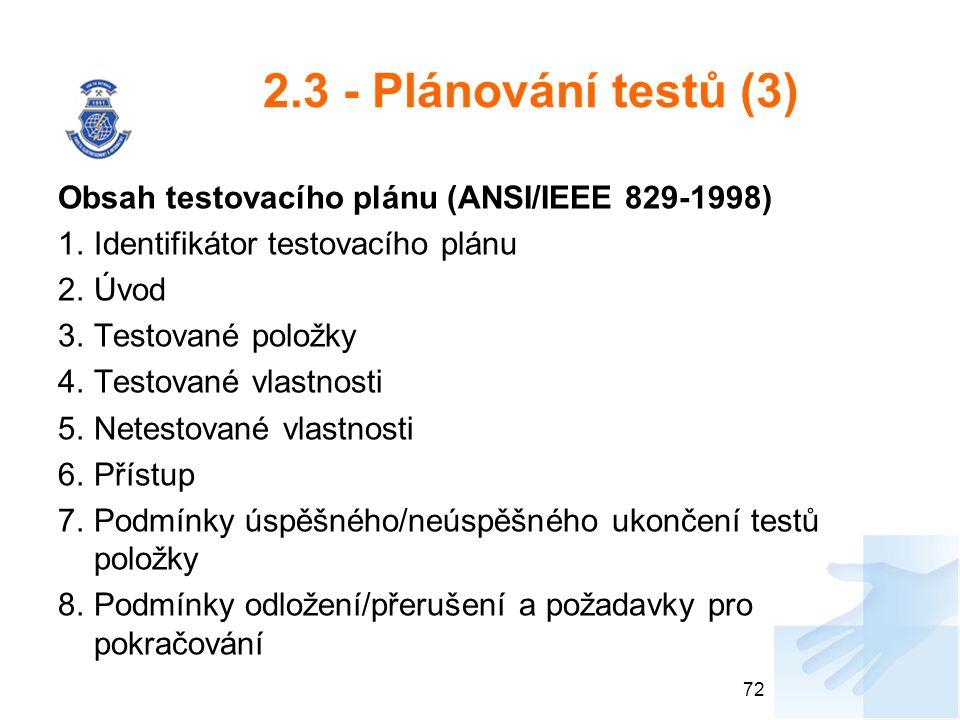 2.3 - Plánování testů (3) Obsah testovacího plánu (ANSI/IEEE 829-1998)
