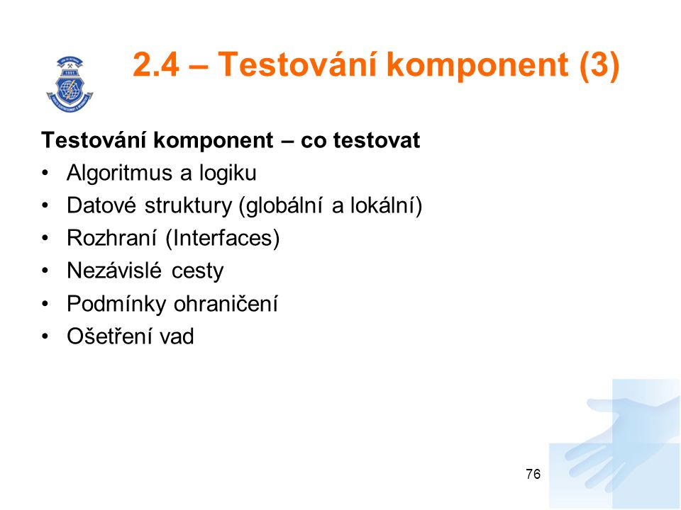 2.4 – Testování komponent (3)