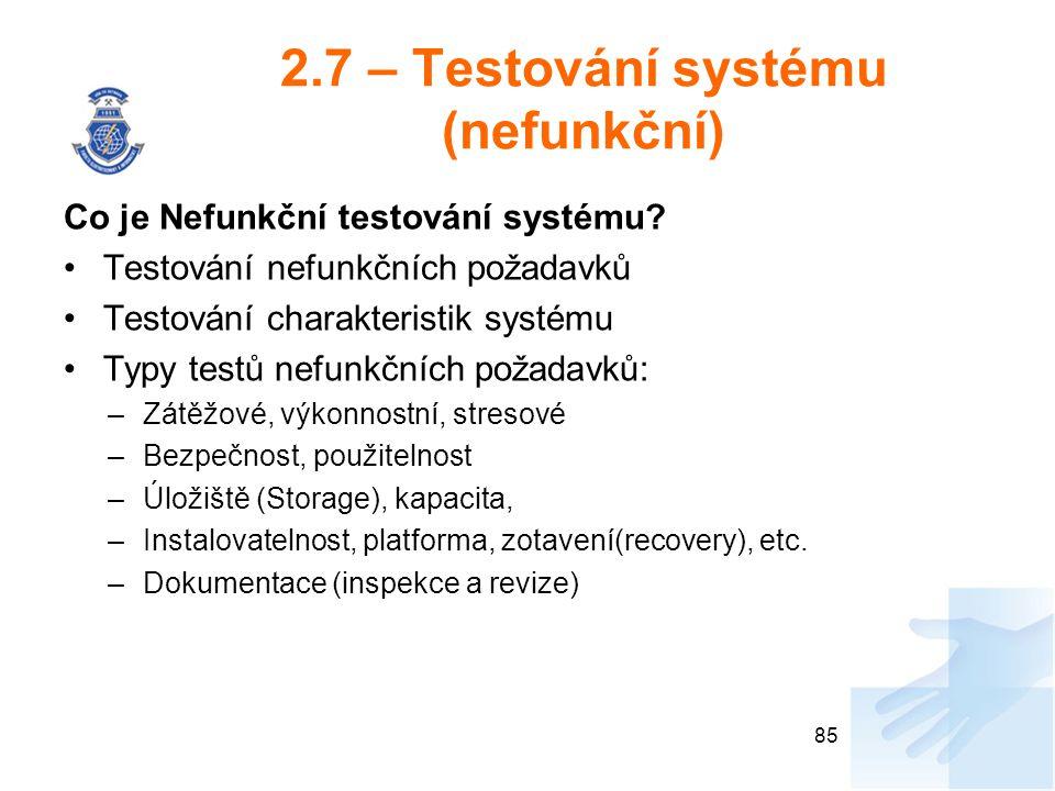 2.7 – Testování systému (nefunkční)