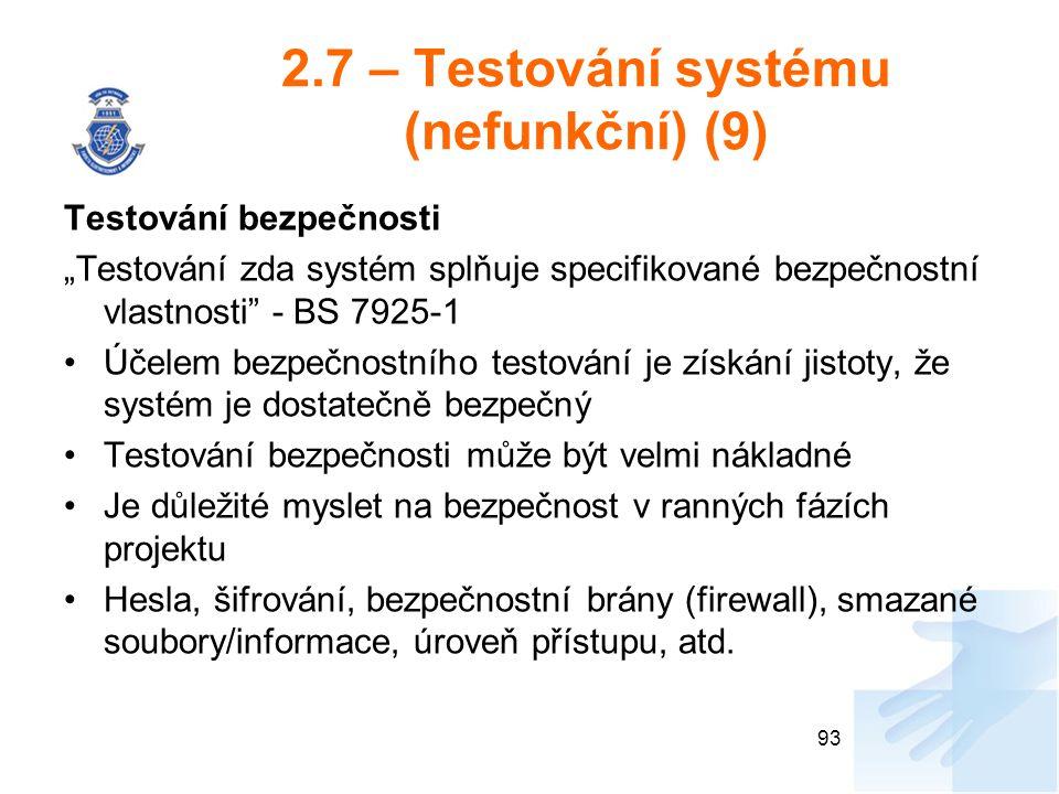 2.7 – Testování systému (nefunkční) (9)