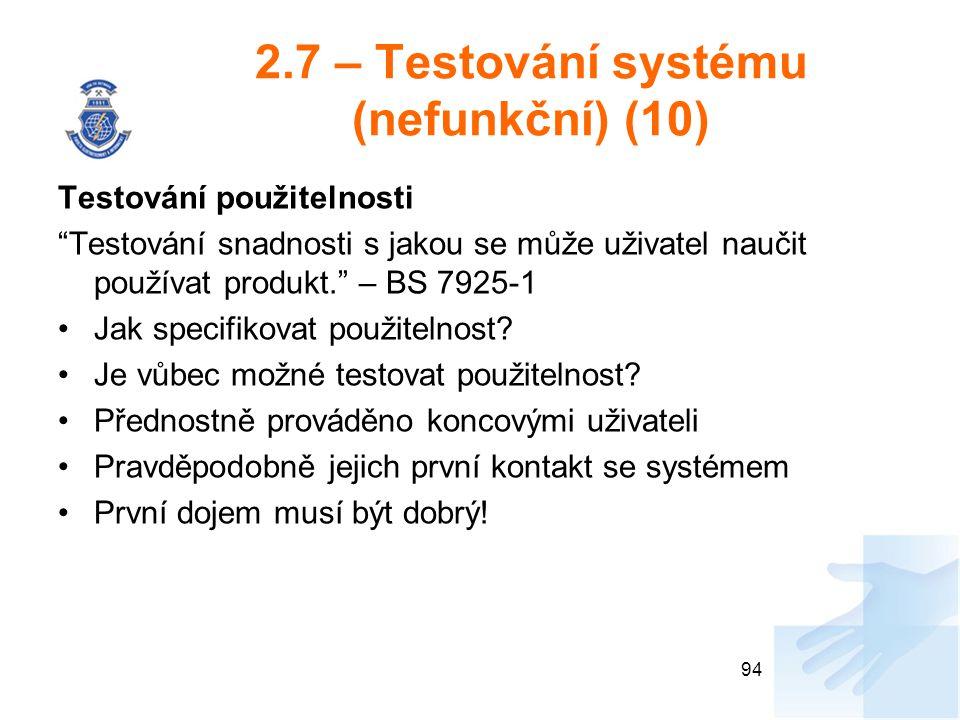 2.7 – Testování systému (nefunkční) (10)