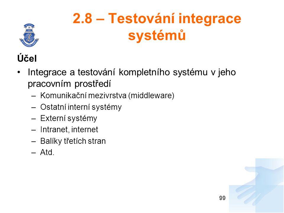 2.8 – Testování integrace systémů