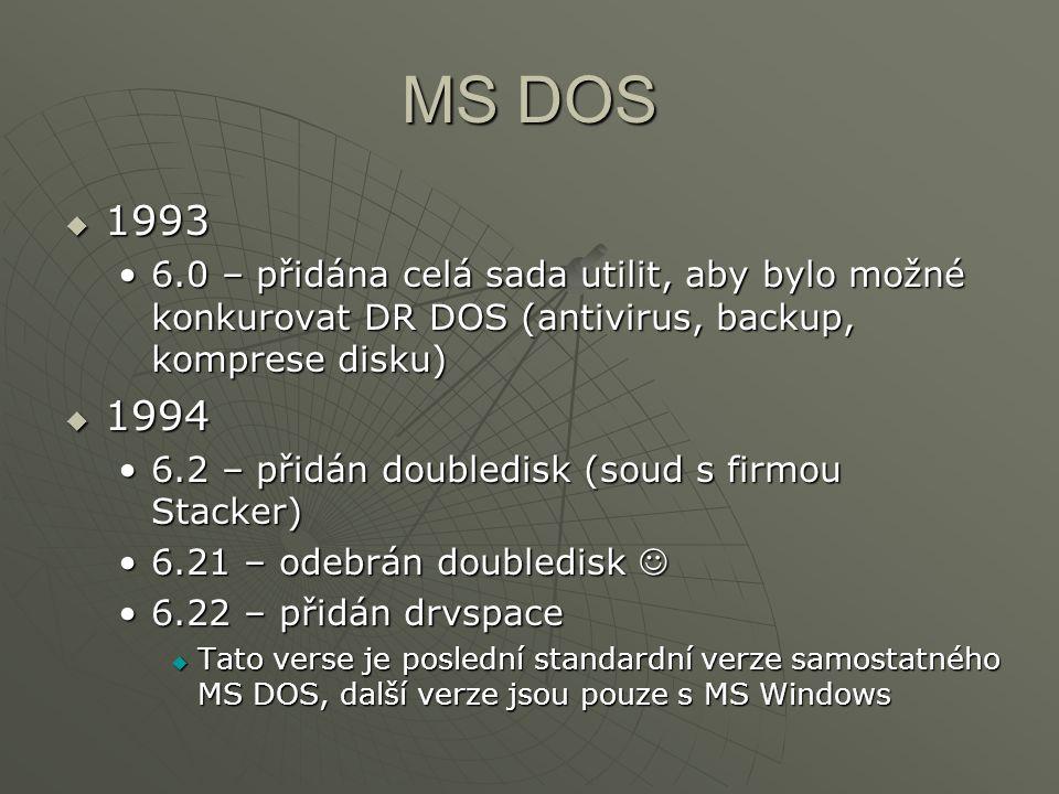 MS DOS 1993. 6.0 – přidána celá sada utilit, aby bylo možné konkurovat DR DOS (antivirus, backup, komprese disku)