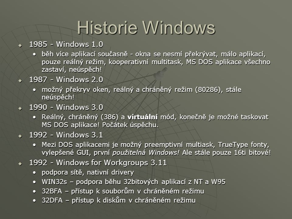 Historie Windows 1985 - Windows 1.0 1987 - Windows 2.0